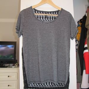 Striped Lace Back Tee